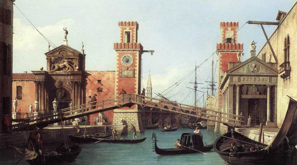 """View of the entrance to the Arsenal by Canaletto, 1732"" by Canaletto - Web Gallery of Art: Image Info about artwork Transferred from en.wikipedia to Commons. ([1]) —Dacxjo 17:47, 1 March 2006 (UTC). Licensed under Public Domain via Wikimedia Commons - http://commons.wikimedia.org/wiki/File:View_of_the_entrance_to_the_Arsenal_by_Canaletto,_1732.jpg#/media/File:View_of_the_entrance_to_the_Arsenal_by_Canaletto,_1732.jpg"
