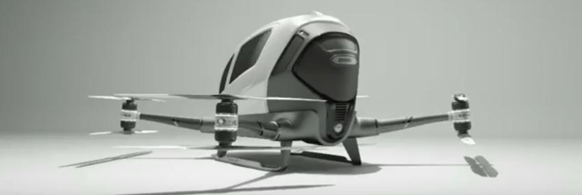 Dron EHANG   Źródło: YouTube/EHANG https://www.youtube.com/watch?v=IrPejpbz8RI