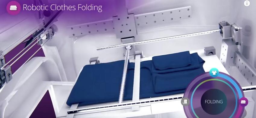 Maszyna do prasowania i składania. Źródło ilustracji: YouTube/FoldiMate, Inc. https://www.youtube.com/watch?v=swNgjX0xHC8