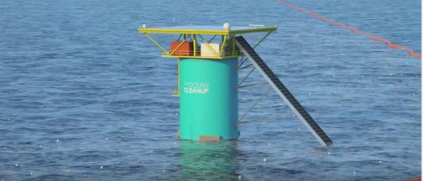oczyszczalnia oceaniczna   Źródło: YouTube/TheOceanCleanup https://www.youtube.com/watch?v=RLAq19hGTBw