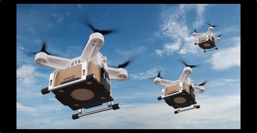 Testy dronów dostarczaacych przesyłki