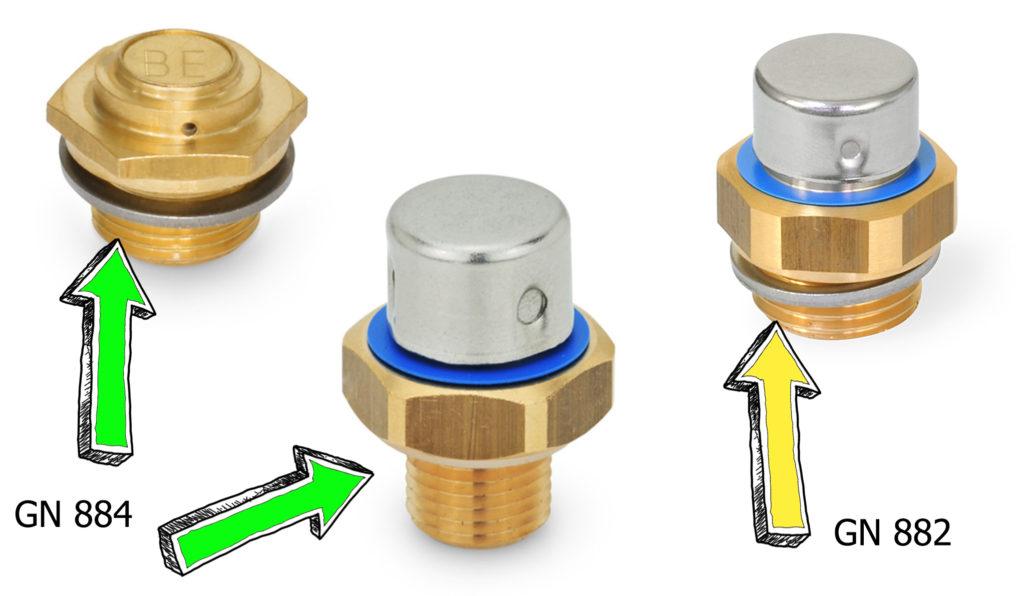 Metalowe korki GN 882 i GN 884 z siatkowymi filtrami ze stali nierdzewnej.