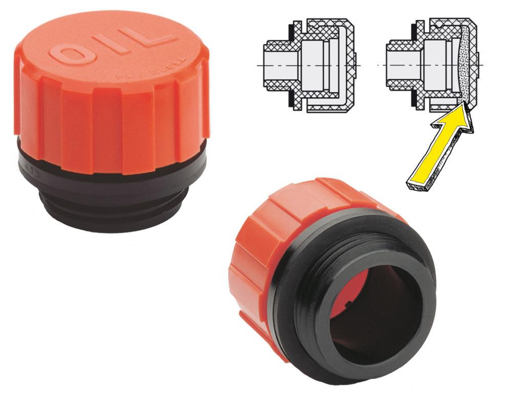 Korek o swobodnym przepływie powietrza SFN. W prawym górnym rogu przekrój dwóch wersji: bez filtra i z filtrem (wskazany żółtą strzałką).